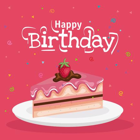 Fetta di torta di compleanno design per biglietto di auguri. Archivio Fotografico - 98955821