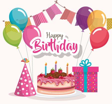 Kartka urodzinowa lub projekt plakatu z ciastem, prezentem, czapką i balonami.