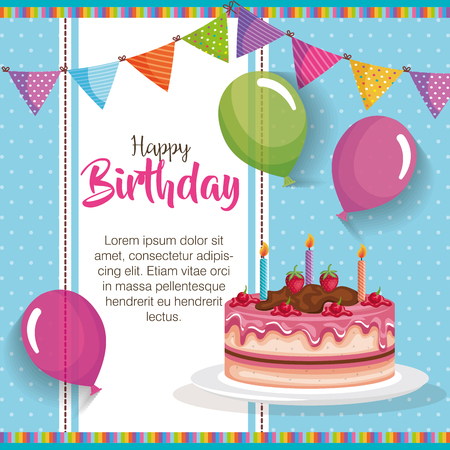 happy birthday cake with balloons air celebration card vector illustration design