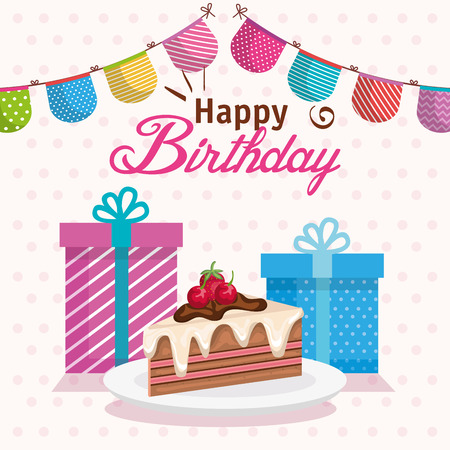 happy birthday cake portion with gifts vector illustration design Illustration