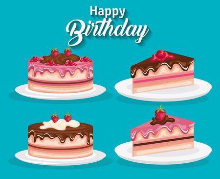 Set of birthday cake icons.