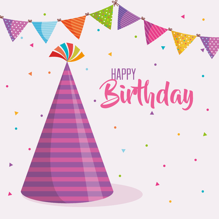 Happy birthday hat celebration card vector illustration design Ilustração