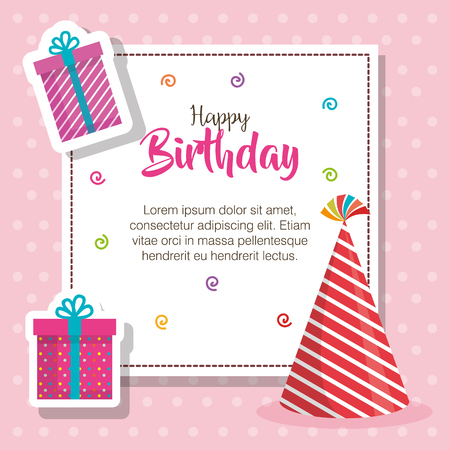 happy birthday hat and gift celebration card vector illustration design Stock Illustratie