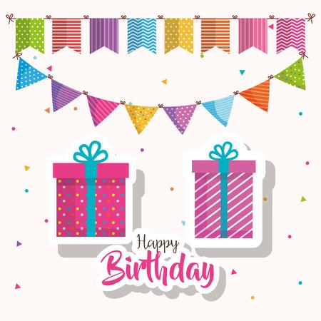 happy birthday gift and garlands celebration card vector illustration design
