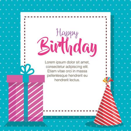 happy birthday hat and gift celebration card vector illustration design Ilustração