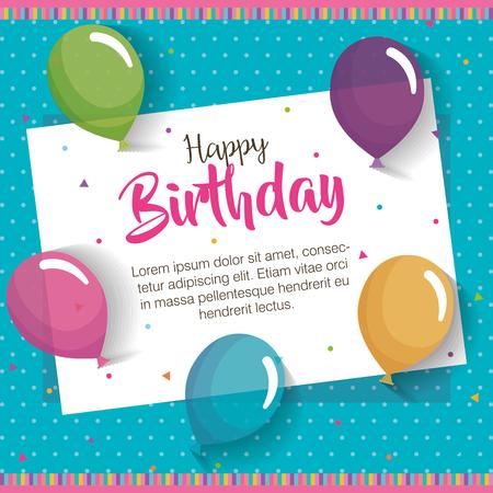 happy birthday balloons air celebration card vector illustration design