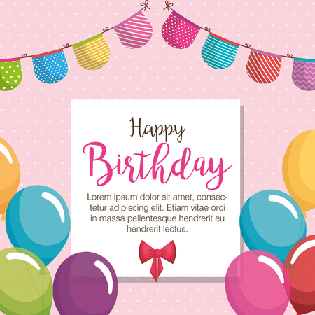 happy birthday balloons air celebration card vector illustration design