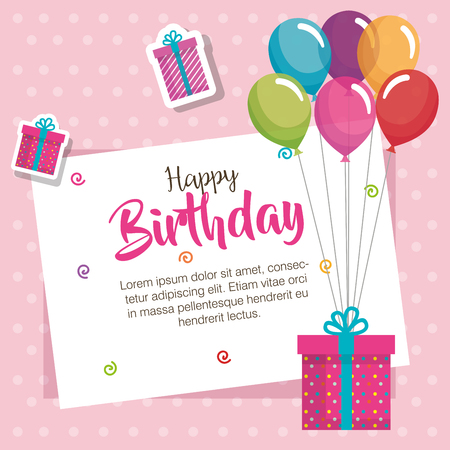 happy birthday balloons air and gift celebration card vector illustration design