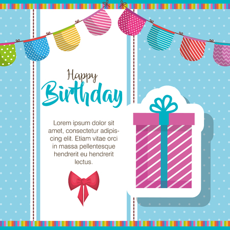 happy birthday gift and garlands celebration card vector illustration design