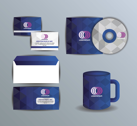 Corporate company advertising set elements vector illustration design.