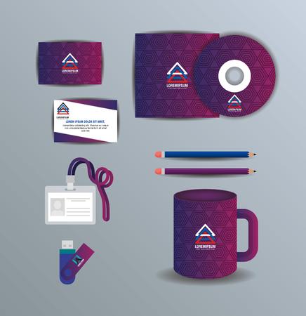 Corporate advertising set of elements vector illustration design Illustration