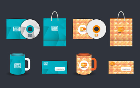 Corporate advertising set of elements vector illustration design Ilustração
