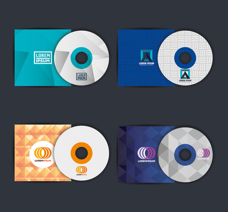 Corporate advertising set of disc vector illustration design Ilustração
