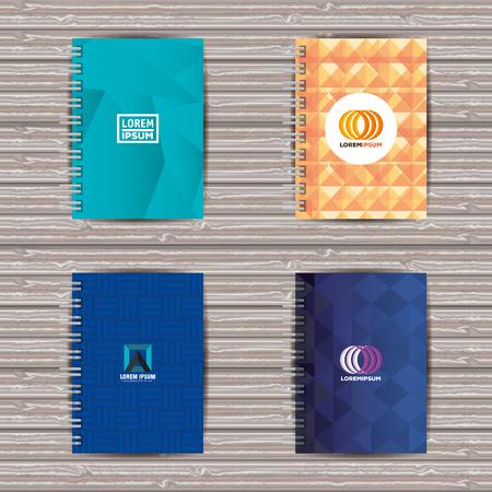 Set of spiral notebook corporate cover vector illustration Illustration