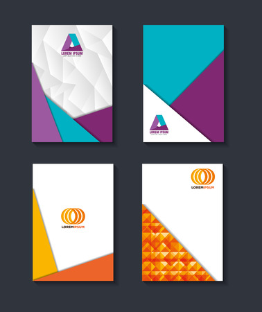 Corporate design set of covers vector illustration. Illustration