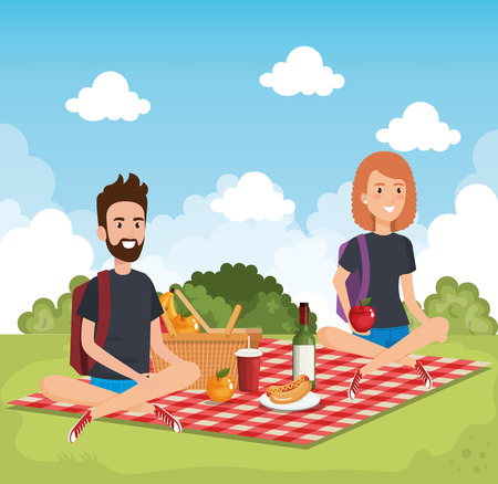 young people in picnic day scene vector illustration design Imagens - 98996602