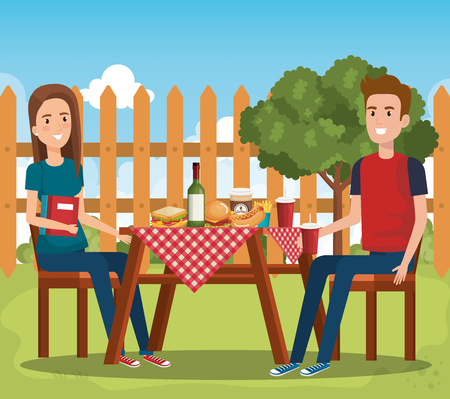 young people in picnic day scene vector illustration design 일러스트
