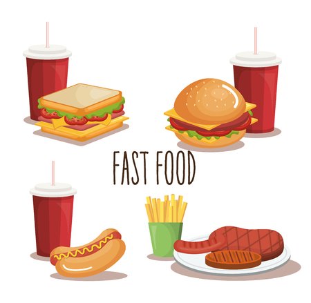 fast food product icons vector illustration design 일러스트
