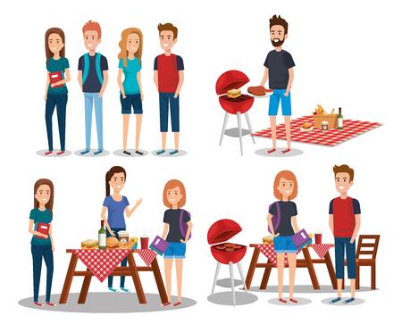 People in picnic day scenes vector illustration design