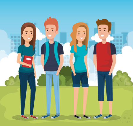 Group of students with books in the park vector illustration design