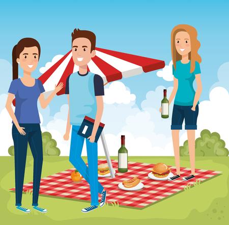 People in picnic day scene vector illustration design