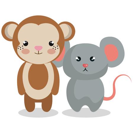 Mignon couple animaux farcis illustration vectorielle conception Banque d'images - 99005037