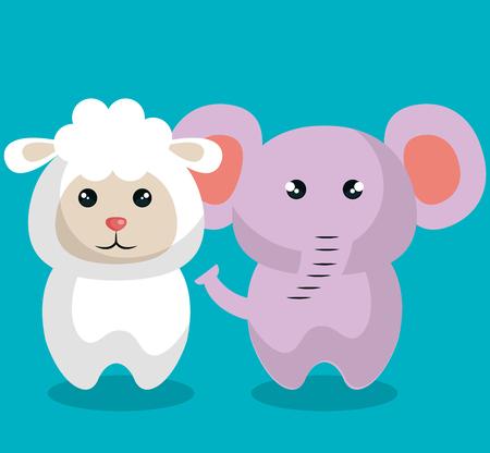 cute couple stuffed animals vector illustration design 일러스트