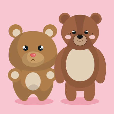 Cute couple stuffed animals vector illustration design