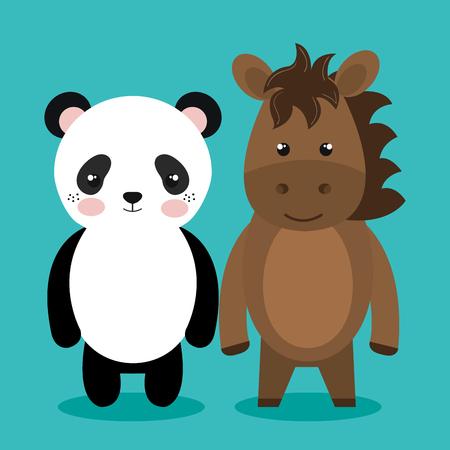 cute couple stuffed animals vector illustration design Illustration