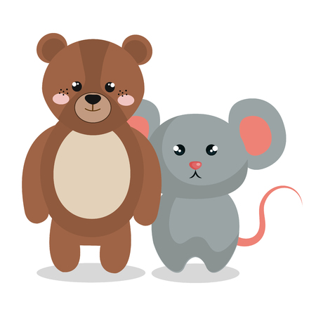 Mignon couple animaux farcis illustration vectorielle conception Banque d'images - 99005041