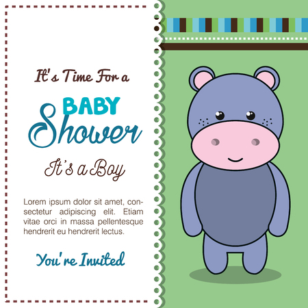 baby shower invitation with stuffed animal vector illustration design Banque d'images - 98973553