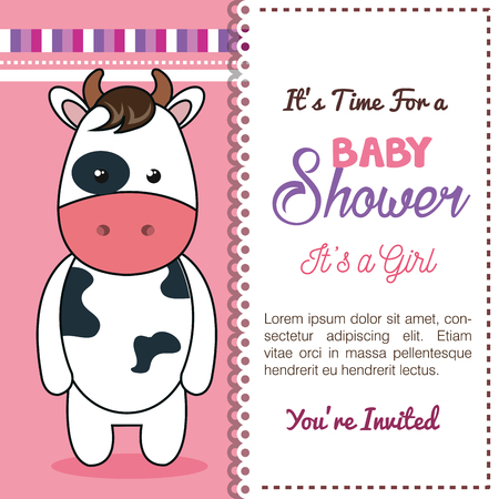 baby shower invitation with stuffed animal vector illustration design Banque d'images - 98973556