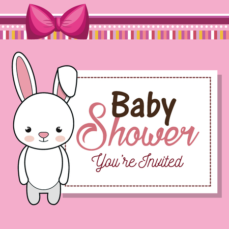 baby shower invitation with stuffed animal vector illustration design