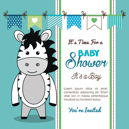 Baby shower uitnodiging met knuffeldier vector illustratie ontwerp Stockfoto - 98973570