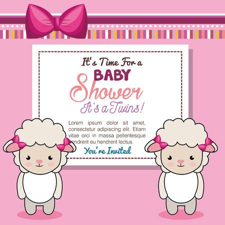 Baby shower uitnodiging met knuffeldier vector illustratie ontwerp Stockfoto - 98973571