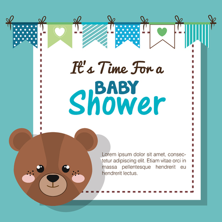 baby shower invitation with stuffed animal vector illustration design Banque d'images - 98973575