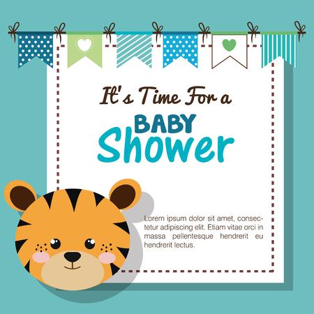 ぬいぐるみ動物ベクトルイラストデザインとベビーシャワーの招待状