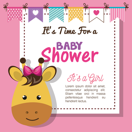 Baby shower invitation with stuffed animal vector illustration design.