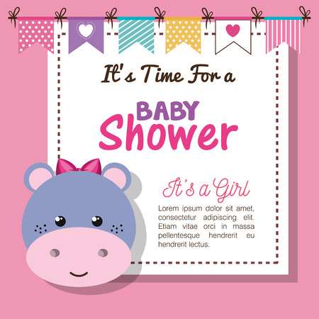 baby shower invitation with stuffed animal vector illustration design Banque d'images - 98975064