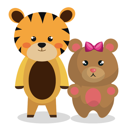 cute couple stuffed animals vector illustration design  イラスト・ベクター素材
