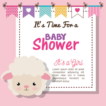 baby shower invitation with stuffed animal vector illustration design Banque d'images - 98974531