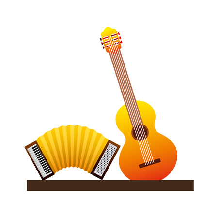 guitar and accordion icon vector illustration design