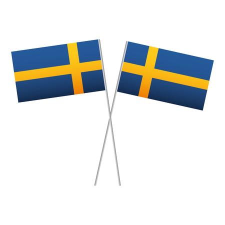Swedish flag in pole crossed vector illustration design