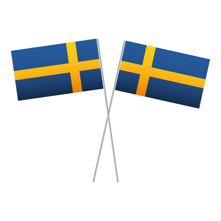 Swedish flag in pole crossed vector illustration design