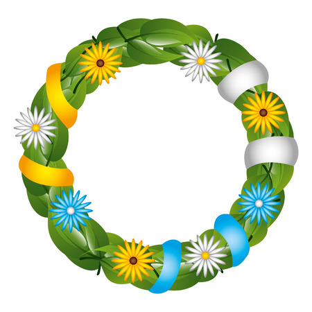 floral wreath crown with ribbon vector illustration design Stock fotó - 99012528