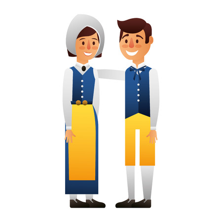 Swedish couple with typical costume vector illustration design