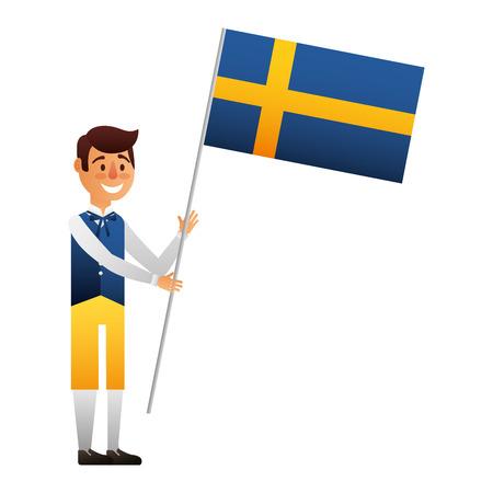 Swedish man with flag vector illustration design