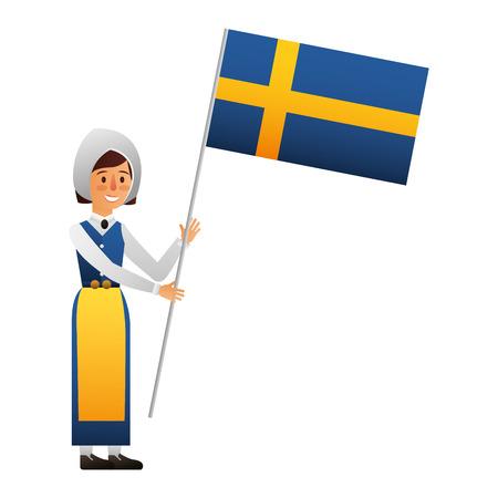 Swedish woman with flag character icon vector illustration design Illustration