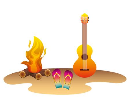 beach with guitar flip flops and campfire vector illustration design Ilustração