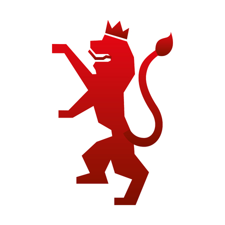 lion with a crown emblem vector illustration design